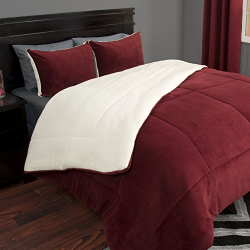 Lavish Home 3 Piece Sherpa/Fleece Comforter Set - F/Q - Burgundy (Sherpa Fleece Quilt)