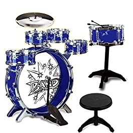 12 Piece Kids Jazz Drum Set – 6 Drums, Cymbal, Chair, Kick Pedal, 2 Drumsticks, Stool – Little Rockstar Kit to…