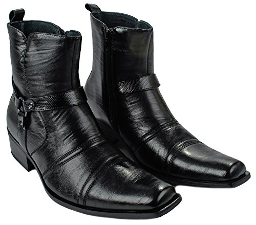 Mens Delli Aldo M-681 Buckle Strap w/ Leather Lining Side Zipper Dress Ankle Boots Black BXKO7p