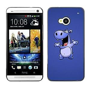 Qstar Arte & diseño plástico duro Fundas Cover Cubre Hard Case Cover para HTC One M7 ( Hippo Drawing Cartoon Big Animal Dance)
