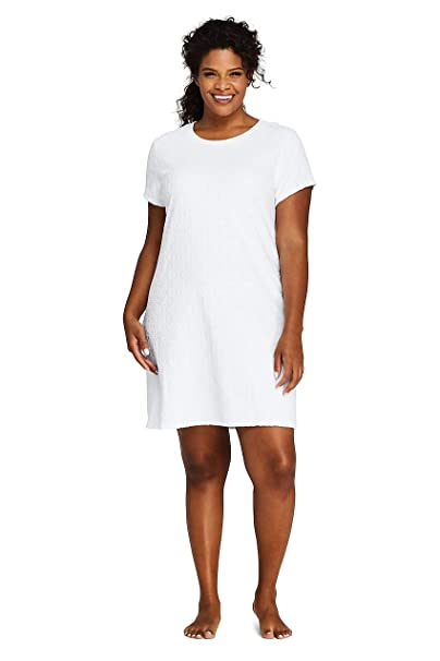 b18e743a0c Lands' End Women's Plus Size Jacquard Terry T-Shirt Dress Swim Cover-up at  Amazon Women's Clothing store: