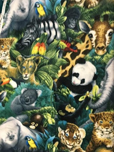 Toddler Fleece Blanket ~ Rainforest Friends 40 X 50 -
