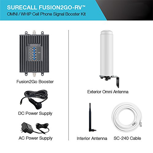 SureCall Fusion2Go-RV Cell Phone Signal Booster Kit for RVs, All Carriers 3G/4G LTE
