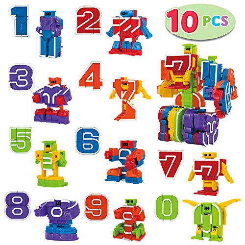 JOYIN 10 Pieces Number Robot Transformer Action Figure Autobots Toys for Easter Basket Stuffers, School Classroom Rewards, Carnival Prizes, Pinata Fillers, S.T.E.M. Pre-School Education Toy ()