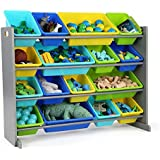 Tot Tutors Elements Super-Size Toy Storage Organizer with 16 Bins in Primary Colors and Grey