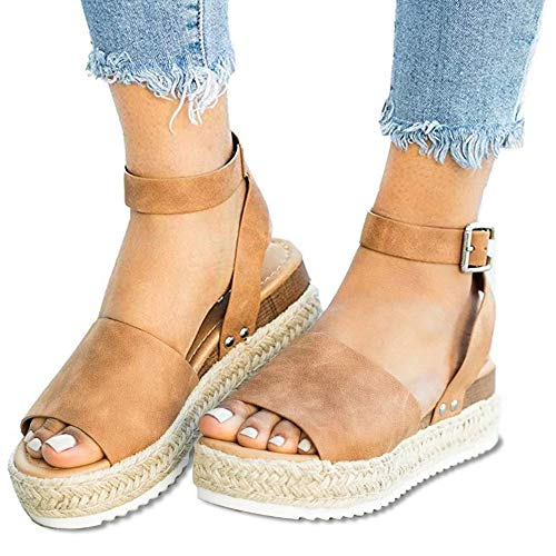 (Women Sandals Casual Espadrilles Sandals Open Toe Platform Strappy Studded Wedge Buckle Ankle Strap Mid Heel Sandals (US Size 5.5-8.85 in(Heel to Toe), C Brown Women Sandals))