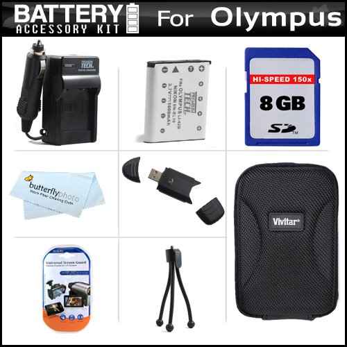 8GB Accessory Kit For Olympus VR-320 VR-310 Digital Camera Includes 8GB High Speed SD Memory Card + Extended (1000Mah) Replacement LI-42B Battery + Ac / Dc Travel Charger + Hard Case + USB 2.0 SD Card Reader + Screen Protectors + More
