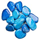 Hypnotic Gems Materials: 2 lbs Bulk Tumbled Blue Howlite Stones from Africa - Natural Polished Gemstone Supplies for Wicca, Reiki, and Energy Crystal HealingWholesale Lot