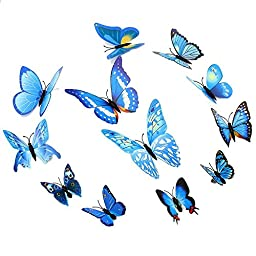 Topixdeals 96Pcs 3D Butterfly Stickers Making Stickers Wall Stickers Crafts Butterflies with Sponge Gum and Pins (Multi-color-96pcs)