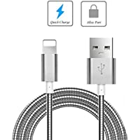 Metal Braided USB Cable Charger Power Sync Wire 6ft Long Data Cord [Silver] [Rapid Charge Support] for iPhone 5 5C 5S, 6, Plus, 6S, Plus, 7, Plus, SE - iPad 4, Air, 2, Mini, 2, 3, 4, Pro, 9.7