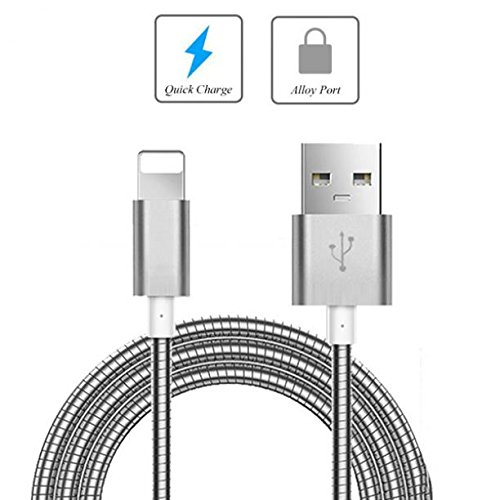 Metal Braided USB Cable Charger Power Sync Wire 6ft Long Data Cord [Silver] [Rapid Charge Support] for US Cellular iPad Mini 2 - US Cellular iPad Mini 3 - US Cellular iPhone 5C by Fonus