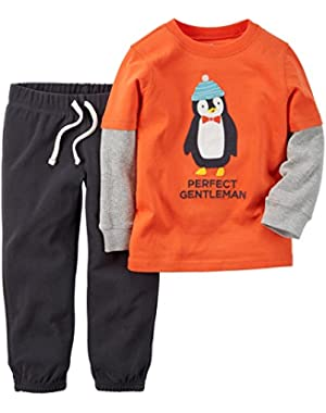 Carter's Baby Boys' 2 Piece Set-Orange