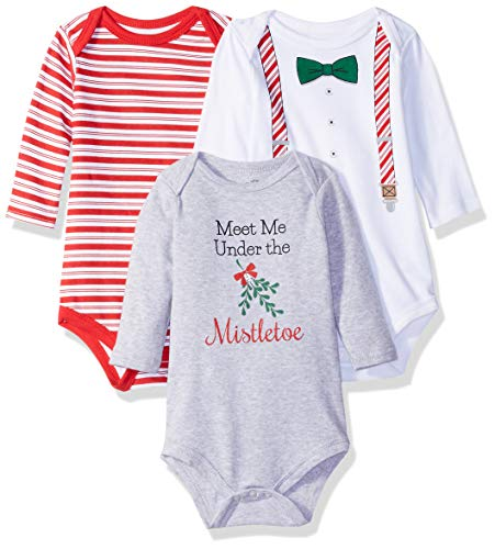 Little Treasure Unisex Baby Cotton Bodysuits, Christmas Suspenders 3-Pack Long-Sleeve, 12-18 Months (18M)