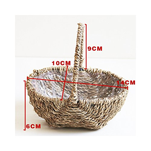 Endlless Hand-Woven Natural Straw and Willow Basket Wicker Flower Pots Flower Wall Hanging Flowerpot Hanging Basket Rustic Rattan Hanging Wall Basket-08 (Wicker Flower Girl Baskets)