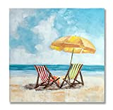 "In Liu Of | Modern Oil Painting on Canvas ""Treasured Views"" (Beach Chairs and Umbrella) Stylized Fine Acrylic, Nature Wall Art 