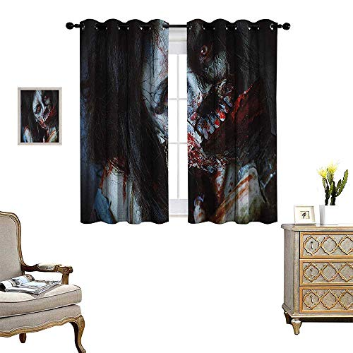 Warm Family Zombie Window Curtain Drape Scary Dead Woman with a Bloody Axe Evil Fantasy Gothic Mystery Halloween Picture Decorative Curtains for Living Room W55 x L63 Multicolor