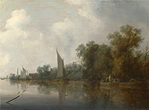 'Salomon van Ruysdael A River with Fishermen drawing a Net ' oil painting, 16 x 22 inch / 41 x 55 cm ,printed on high quality polyster Canvas ,this Reproductions Art Decorative Canvas Prints is perfectly suitalbe for Bedroom decor and Home decoration and Gifts