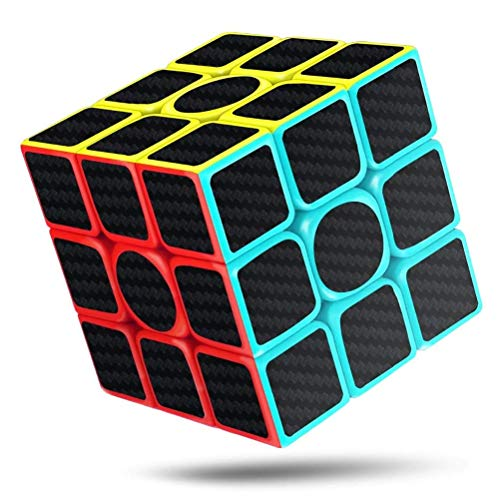 LQT Ltd Speed Cube,3 x 3 x 3 Carbon Fiber Sticker Smooth Magic 3D Puzzle Rubiks Cube,Enhanced Version,5.7cm Rubix ()