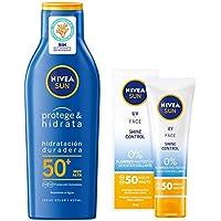 Nivea Sun Protege & Hidrata - Leche solar FP50+, hidratante, resistente al agua, protección UVA/UVB - 400 ml + Crema solar facial con protección solar FP50 - 50 ml