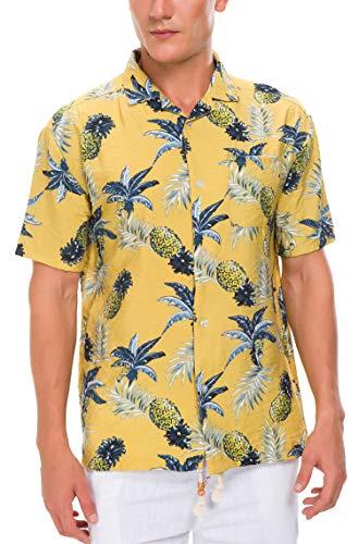 Janmid Men's Tropical Hawaiian Shirt Casual Button Down Short Sleeve Shirt Yellow Pineapple L ()