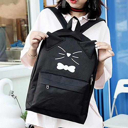 gato las cuero de la historieta rosa la mujeres casual Bolso Negro de encantador mochilas hombro del PU Widewing de de impresa xTaYwW7q
