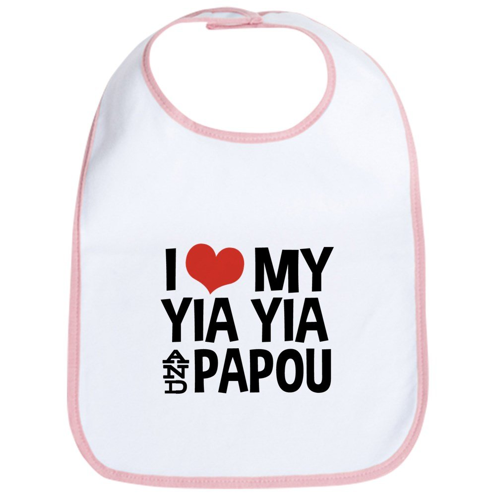 CafePress - I Love My Yia Yia And Papou Bib - Cute Cloth Baby Bib, Toddler Bib
