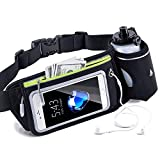 AMEON Sporting Belt Multifunctional Touchscreen Zipper Pockets Water Resistant Waist Bag, with One Water Bottle Black Waist Pack for Running Hiking Cycling Climbing