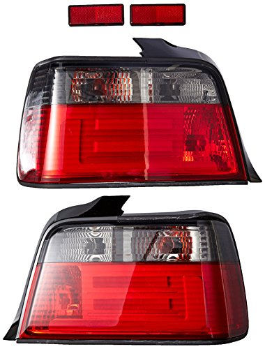 (Spec-D Tuning LT-E364RG-F2-APC Bmw E36 3-Series 4Dr Sedan Brake Tail Lamps W/ 3D Led Light Bars Pair)