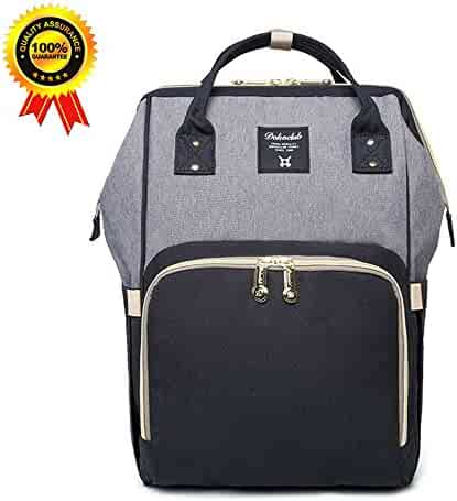 Abear Diaper Bag Backpack Waterproof Large Capacity Insulation Travel Back Pack Nappy Bags Organizer, Multi-Function, Fashion and Durable (Gray-Black)