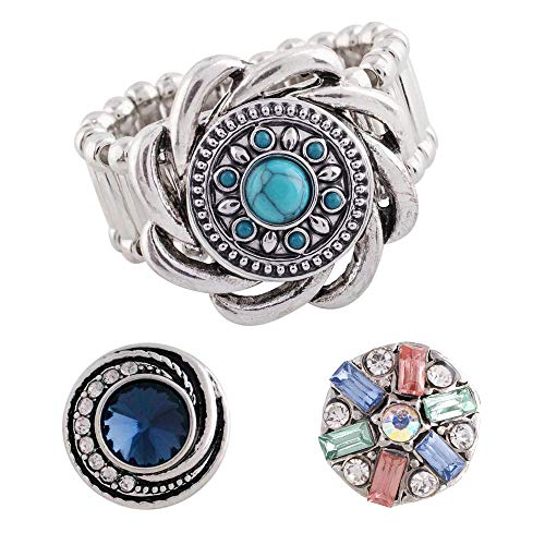 Snap Charm Stretch Ring for Mini Petite Snaps 12mm Includes 3 Snaps Shown (Set-1) -