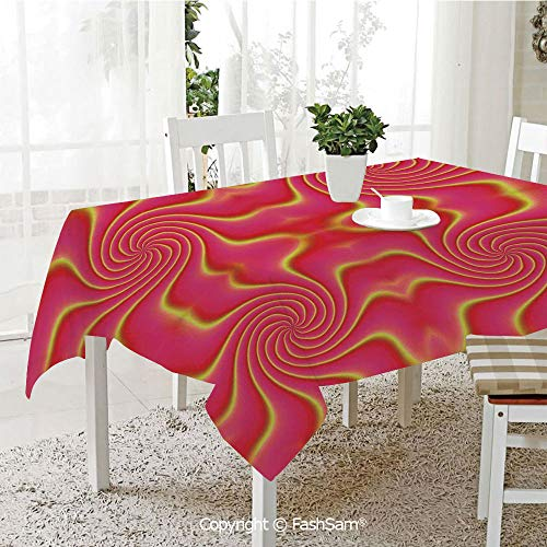 AmaUncle 3D Print Table Cloths Cover Pop Art Produced Figural Expanding Shady Lines and Nested Shape Design Kitchen Rectangular Table Cover (W60 xL104)]()
