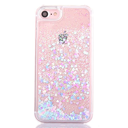 Liujie QSD iPhone 6s Plus Case - Liquid Cool Quicksand Moving Stars Bling Glitter Floating Dynamic Flowing Case - Pink Heart