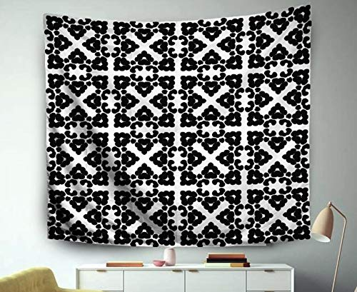 (Beach Rug,Jacrane Art Tapestries With 60X50 Inches Black White Ethnic Pattern Vintage Grunge Abstract Tribal Background Textile Wallpaper Surfa For Dorm Bedroom Living Home Decor)
