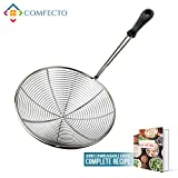 """Stainless Steel Spider Strainer, 6.3"""" Asian Wire Skimmer Ladle for Cooking Frying Food Pasta Spaghetti Noodle Hot Pot, Stay Cool Handle with Hook for Easy Storage, Food Recipe Ebook Included"""