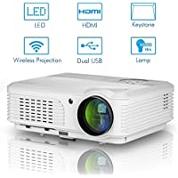 Wifi Android Projector 1080p Support,LED 3200 Lumen Home Video HD Projector Airplay for iPhone Tablet PC Laptop, Outdoor Movie Artwork Drawing Projection 1280x800 Native-EUG