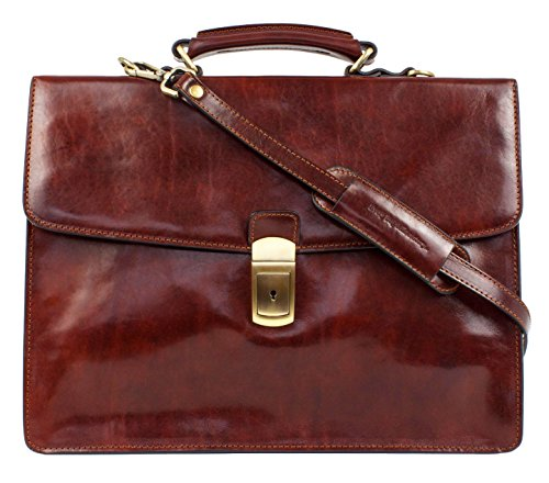 Brown Leather Briefcase, Leather Laptop Bag, Messenger Bag - Time Resistance by Time Resistance