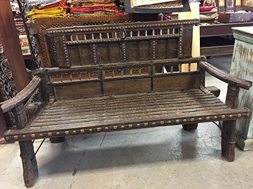 Mogulinterior Antique Hand carved haveli Day bed Bench Teak Sofa Iron Patina Dark wooden