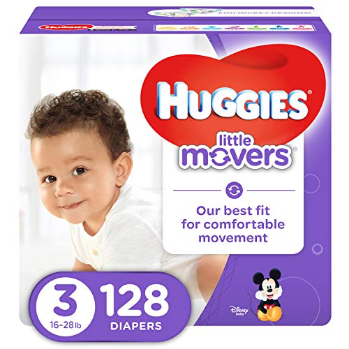 HUGGIES LITTLE MOVERS Diapers, Size 3 (16-28 lb.), 128 Ct., GIANT PACK (Packaging May Vary), Baby Diapers for Active Babies (Huggies Little Movers Slip On Size 3)