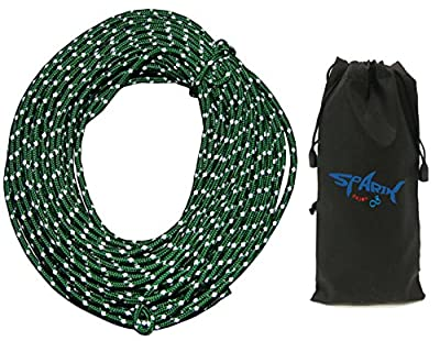 50 Feet Reflective 550 Para cord, 2.5 MM Green Reflective Cord 100 Feet Long Tent Guyline Rope with Carry Pouch (Green)