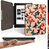 iGadgitz 'Designer Collection' Butterfly Slim PU Leather Shell Case Cover for Kobo Glo HD, Kobo Touch 2 with Sleep Wake & Magnetic Closure