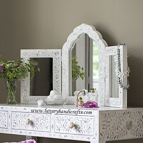 Isabelle Mother of Pearl Triple Mirror in White by Luxury Handicrafts