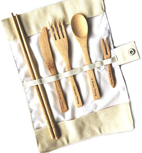 AGreenPenny - Bamboo Utensils Set |Reusable Spoons Knife With Case| Cooking Kitchen Cutlery Easy Put In Drawer Organiser, Dividers Or Holder | Zero Waste ! (Beige)