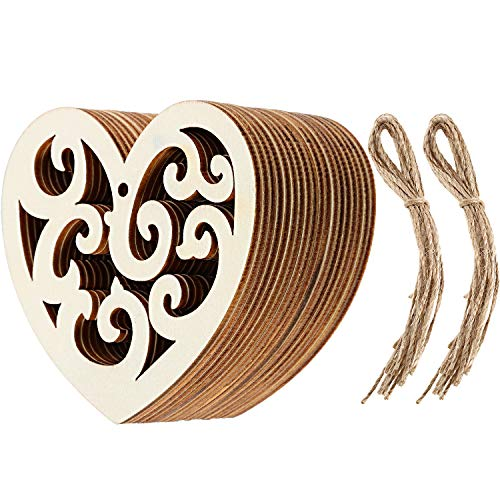 Chengu 20 Pieces Heart Shaped Wooden Hanging Ornament Hearts Craft for Wedding Valentine's Day ()