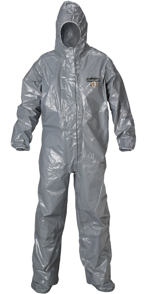 Lakeland ChemMax 3 Heat Sealed Taped Seam Coverall with Respirator-Fit Hood and Boot, Disposable, Elastic Cuff, 2X-Large, Gray, Double Storm Flap (Case of 6) by Lakeland Industries Inc (Image #1)