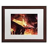 Trademark Fine Art Fireplace by Kurt Shaffer, White Matte, Wood Frame 16x20-Inch
