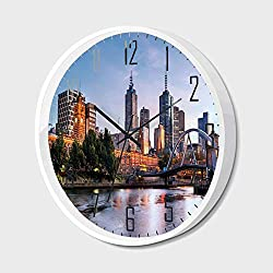 Non Ticking Wall Clock Silent with Metal Frame HD Glass Cover,City,Early Morning Scenery in Melbourne Australia Famous Yarra River Scenic,for Office,Bedroom,10inch