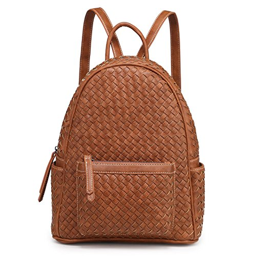 Shomico Unisex Handmade Woven Faux Leather Backpack Shoulder Handbag (Tan)