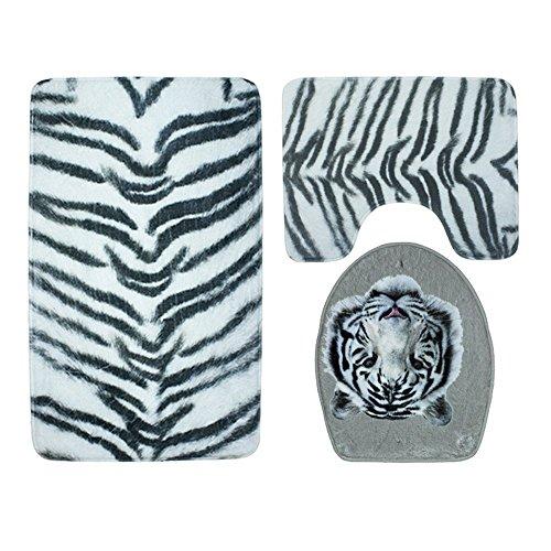 bd jfew 3pcs set bath mat tiger motif American style print carpet of bathroom and toilet,carpet sets bath mat(4575cm) Base unit +mat(4545cm) +seat cover from toilet mat(4337cm),B