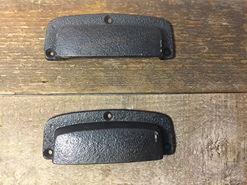 Pair of Iron Bin Style Drawer Handles with Hardware Rustic Look Vintage Style Pair of Bin Handles Large Vintage Bin Style Pulls Cast Iron Drawer Pulls