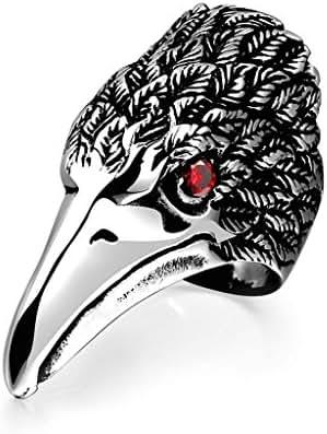 Daesar Stainless Steel Silver Black Mens Bands Olecranon Red Eyes Biker Rings for Men